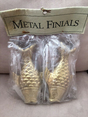 "Vintage Pair of Brass Fish Finials - 5 3/4"" - Pier 1 Imports - Sealed, NOS"