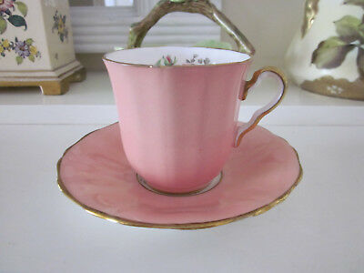Pretty Adderley Fine Bone China Pink Rose On Pink Demitasse Cup And Saucer