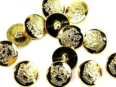 Crown Military Brass Effect Round Shank Buttons (CX2324-M)
