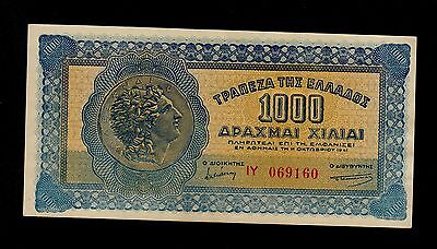 GREECE  1000 DRACHMAI  1941 PICK # 117a  AU  BANKNOTE.