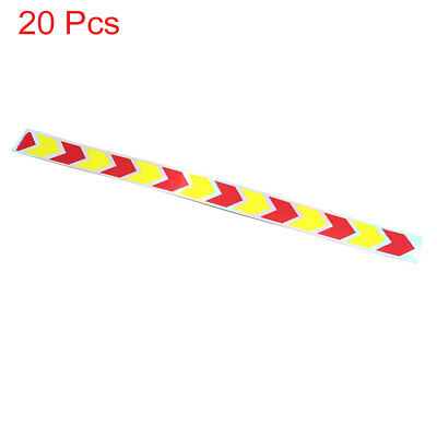 20pcs 43 x 3.5cm Arrow Pattern Self Adhesive Car Reflective Sticker Yellow Red