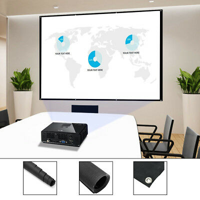 72''/84''/100''/120'' Projector Screen 16:9 4:3 Projection HD Manual Pull Down