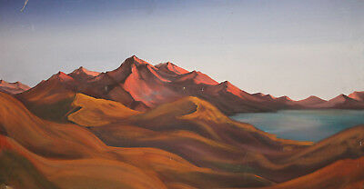 Vintage mountain landscape lake large oil painting