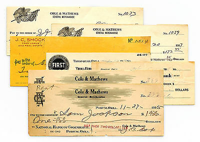 Set of 7 mixed Oklahoma USA bank checks 1900's nice used