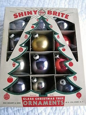 Vintage  SHINY BRITE Glass Christmas Ornaments in Original Box-Mixed Lot of 12
