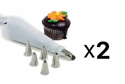 Norpro 8pc Cake Decorating Set Frosting Icing Piping Bag Tips Reusable (2-Pack)