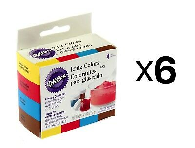 Wilton Primary Colors, Set Of 4 Cake Decorating Frosting Food Coloring (6-Pack)