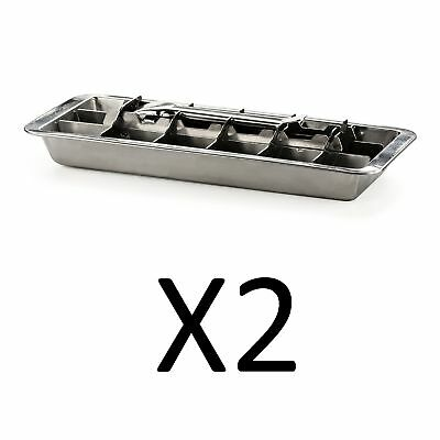 Endurance Stainless Steel 18 Slot Ice Cube Tray, Easy Release Handle (2-Pack)