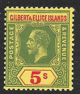 Gilbert & Ellice Islands 1912 5/- Green & Red/Yellow SG 23 (Mint)