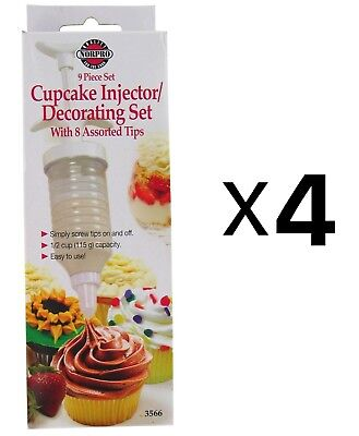 Norpro Cake Icing Decorating Set Frosting 8 Tips w/ Filling Injector (4-Pack)