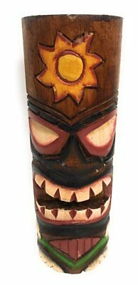 """Tiki Totem 8"""" w/ Sunny Hawaii - Hand Carved & Painted 