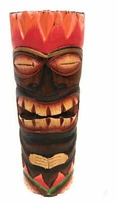 """Tiki Totem 8"""" w/ Lava/Fire Hawaii - Hand Carved & Painted 