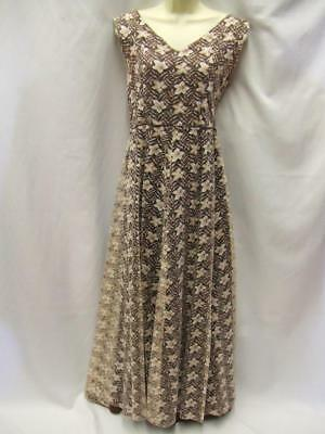 1950s Evening Gown Long Dress Vintage Size 12 Brown and Cream Floral Lace