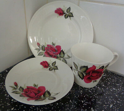 Vintage tea set red roses. Trio of cup saucer and plate - Crown royal bone china