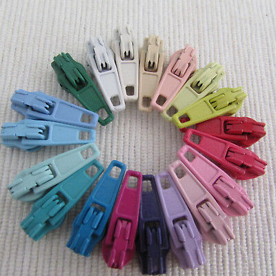 Zip sliders / pulls for #3 zippers - with autolock - choice of colours & pk size