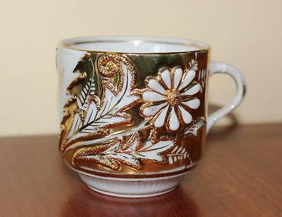Vintage Collectible Moustache Cup Made In Germany Adored With Flowers & Gold