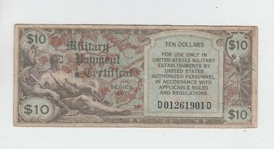 Military Payment Certificate $10 series 481 fine stains