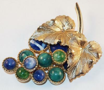 Vintage Goldtone Leaves Blue &green Lucite Grape Cluster Large Brooch Pin