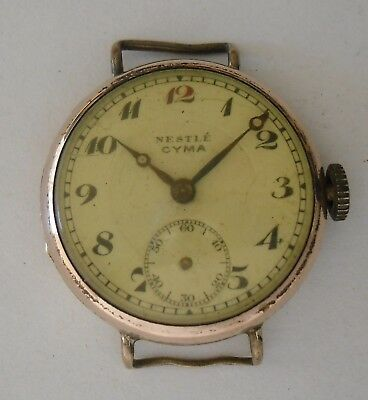 Vintage Nestle Advertising Watch Not Working 1940s CYMA 234 Movement No Funciona
