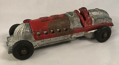 Cast Iron And Cast Aluminum Vintage Race Car with Rubber Wheels Ships from US