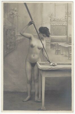 1900's French NUDE Photograph - Petite Full Frontal Playing Pool, Billiards