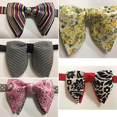 NEW Lot Of 5 Handmade Mens Bow-ties Vintage-style-70-s-Bow ties-Pretied
