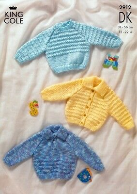 King Cole Baby Sweaters & Cardigans Big Value Knitting Pattern 2912 DK (...