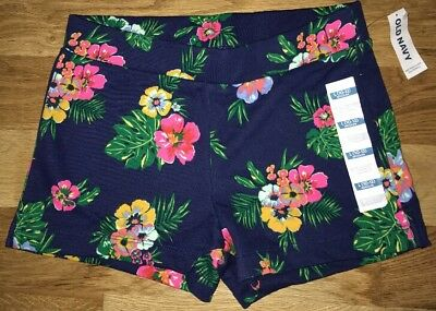 OLD Navy GIRLS Large 10 12 BLUE Tropical Cotton KNIT Comfy SHORTS New NWT!