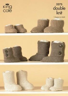 King Cole Family Hug Slipper Boots Baby Alpaca Knitting Pattern 3275  DK (KCP...