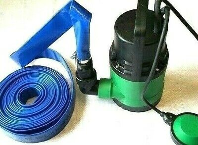 250W SUBMERSIBLE DIRTY WATER PUMP WITH FLOAT SWITCH 5M 25mm HOSE & 2 CLIPS