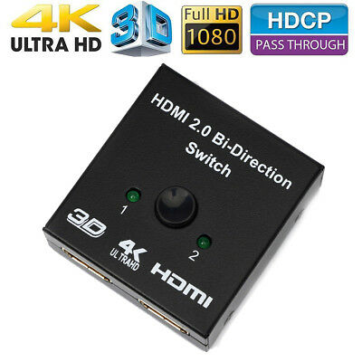 HDMI Bi-directional 2x1 Switch Switcher or 1x2 Splitter Selector 3D 4K HDCP 2.2