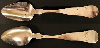 1850s ROCKLAND, MAINE COIN SILVER SPOON BY SIMEON BLOOD JR. 5 3/4""