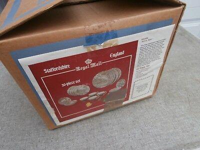 Vintage Myott Brown Royal Mail China Staffordshire England Nos 20 Pc Set In Box
