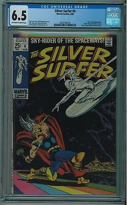Silver Surfer #4 Cgc 6.5 Classic  Thor Vs Surfer Cover Ow/w Pages 1969