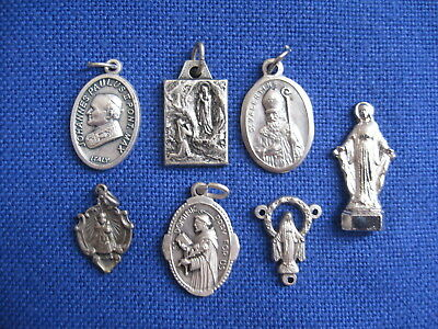 Sweet Lot of 7 Catholic Religious Vintage MEDALS Pope John Paul II ST VALENTINE