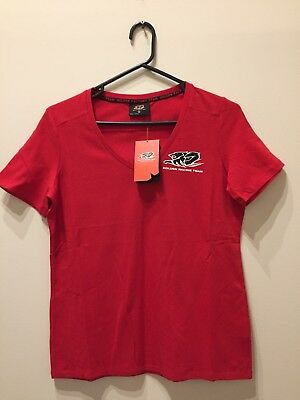 2 X Holden Racing Team Ladies Red V-neck T-shirt Size 12 Official HRT (NEW)