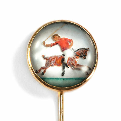 Victorian around 1890: Antique Brooch with Essex Crystal, Horse Jockey/Horse