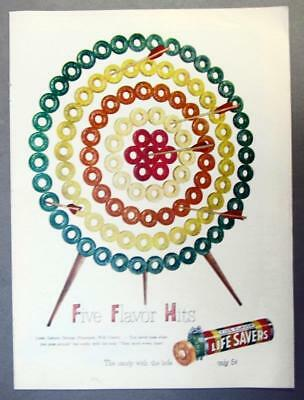EYECATCHING Original 1949 Life Savers Candy Ad ARCHERY .. FIVE FLAVOR HITS