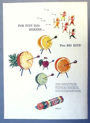 EYECATCHING Original 1947 Life Savers Candy Ad FOR 5 LITTLE INDIANS.. 5 BIG HITS