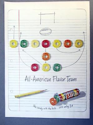 EYECATCHING Original 1947 Life Savers Candy Ad ALL AMERICAN FLAVOR TEAM