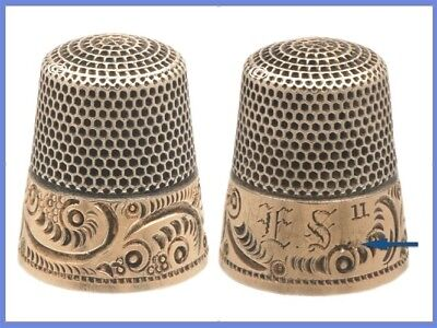 Fabulous 14K Gold & Sterling Silver Thimble, KMD *C.1880s