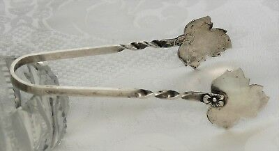 Vintage Sterling Silver Sugar Tongs Raimond R Maple Leaf Condiment Candy Pickle
