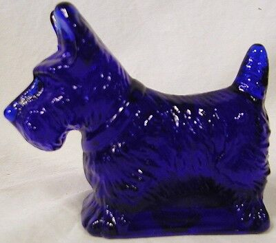 Mosser Cobalt Blue Solid Glass Scottie Dog Figurine