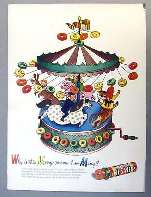 EYECATCHING Original 1946 Life Savers Ad WHY IS THIS MERRY GO ROUND SO MERRY