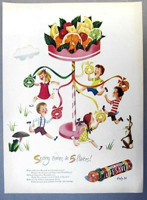 EYECATCHING Original 1947 Life Savers Candy Ad SPRING COMES IN FIVE FLAVORS