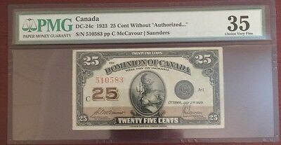1923 Dominion Of Canada 25 Cent Note PMG VF 35