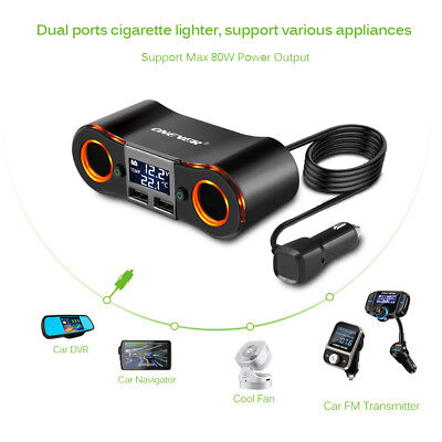 2 Way Multi Socket Car Cigarette Lighter Splitter USB Plug Charger DC 12V/24V UK