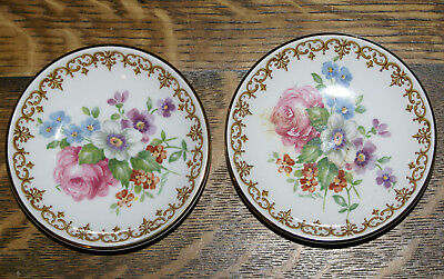 "TWO Crown Staffordshire 3.5"" Butter Pats * England's Bouquet Pattern Fine China"