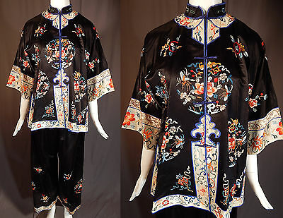 Antique Chinese Black Silk Peony Butterfly Bat Embroidered Pajama Pants Robe Vtg