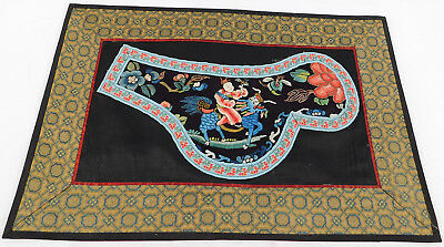Antique Chinese Qilin Silk Embroidery Forbidden Stitch Peking Knot Robe Trim Vtg